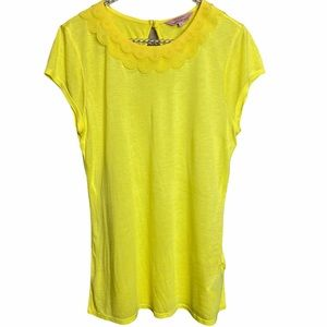 Ted Baker London Yellow Top Lace Neckline Sz 2